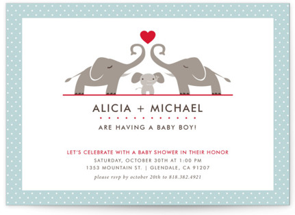 Elephant Family Baby Shower Invitations