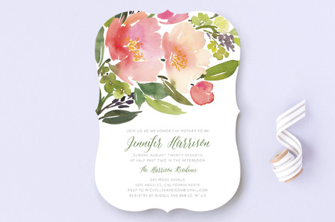 Watercolor Floral Baby Shower Invitations
