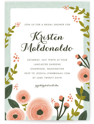 English Floral Garden Bridal Shower Invitations