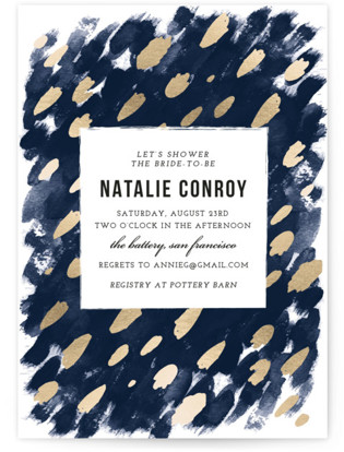 Midnight And Gold Bridal Shower Invitations