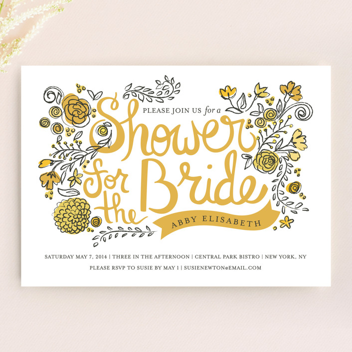 """""""Wild Garden"""" - Floral & Botanical, Vintage Bridal Shower Invitations in Sunshine by Snow and Ivy."""