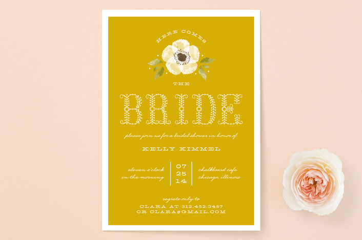 """Vintage Painted Flower"" - Floral & Botanical, Vintage Bridal Shower Invitations in Mustard by Lehan Veenker."