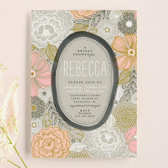 """""""Peony Frame"""" - Bold typographic, Floral & Botanical Bridal Shower Invitations in Ash by Alethea and Ruth."""