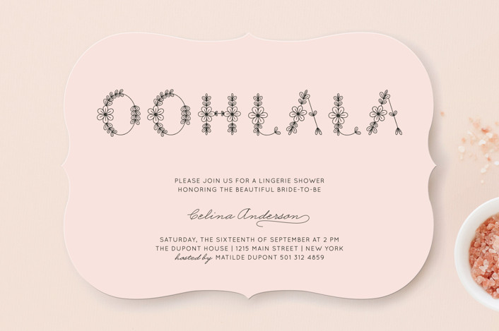 """""""Ohlala Chic"""" - Whimsical & Funny, Formal Bridal Shower Invitations in Petal by Bonjour Paper."""