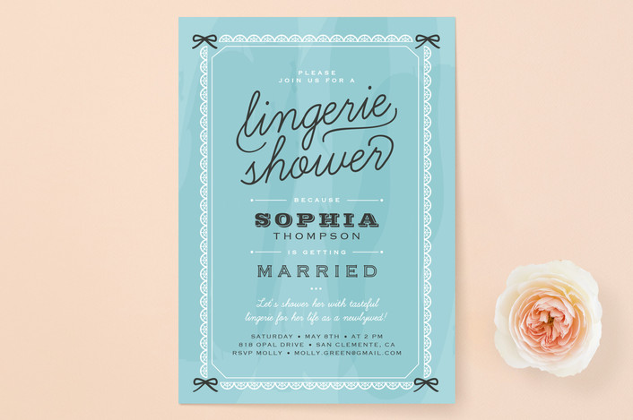 """Boudoir"" - Whimsical & Funny Bridal Shower Invitations in Tiffany Blue by Carolyn MacLaren."