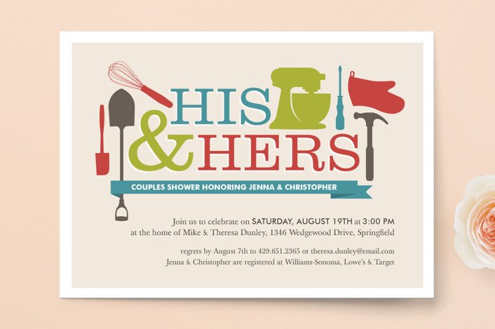 """Household Mix Up"" - Bold typographic, Modern Bridal Shower Invitations in Cherry by Jessica Williams."