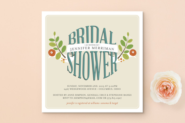 """""""Botanical Banner"""" - Floral & Botanical, Bold typographic Bridal Shower Invitations in Tangerine by Jessica Williams."""