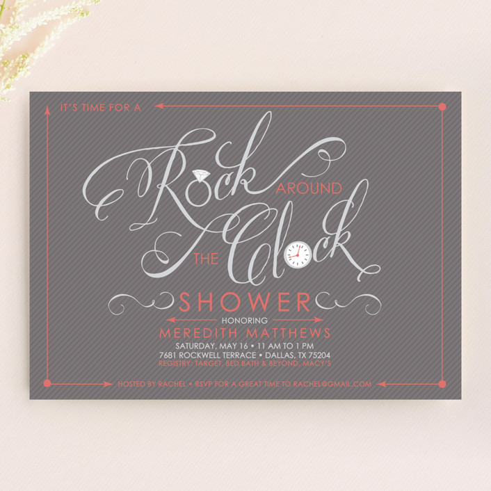 """""""Rock Around the Clock"""" - Modern, Whimsical & Funny Bridal Shower Invitations in Coral by Rachel Luetkemeyer."""