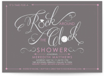 Rock Around the Clock Bridal Shower Invitations