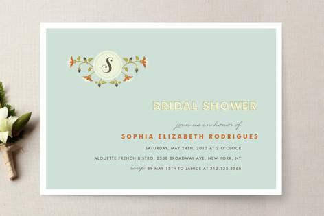 Single Initial Bridal Shower Invitations