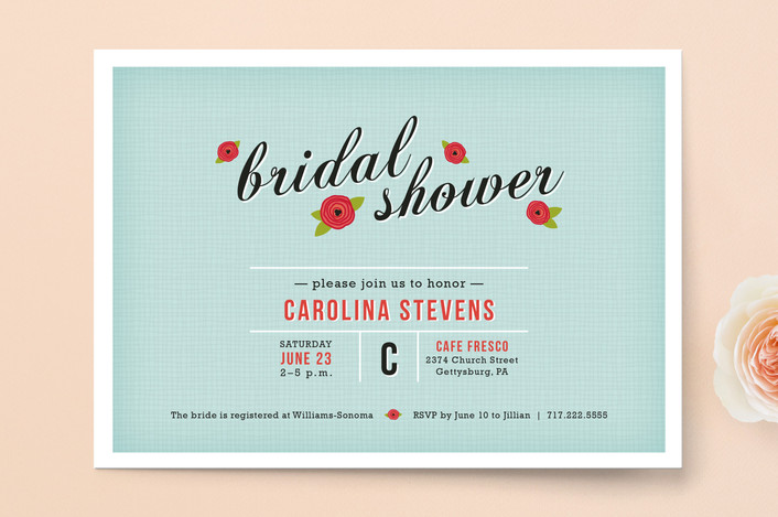 """""""Poppy Flower"""" - Floral & Botanical, Whimsical & Funny Bridal Shower Invitations in Teal by Meghan Johnson."""