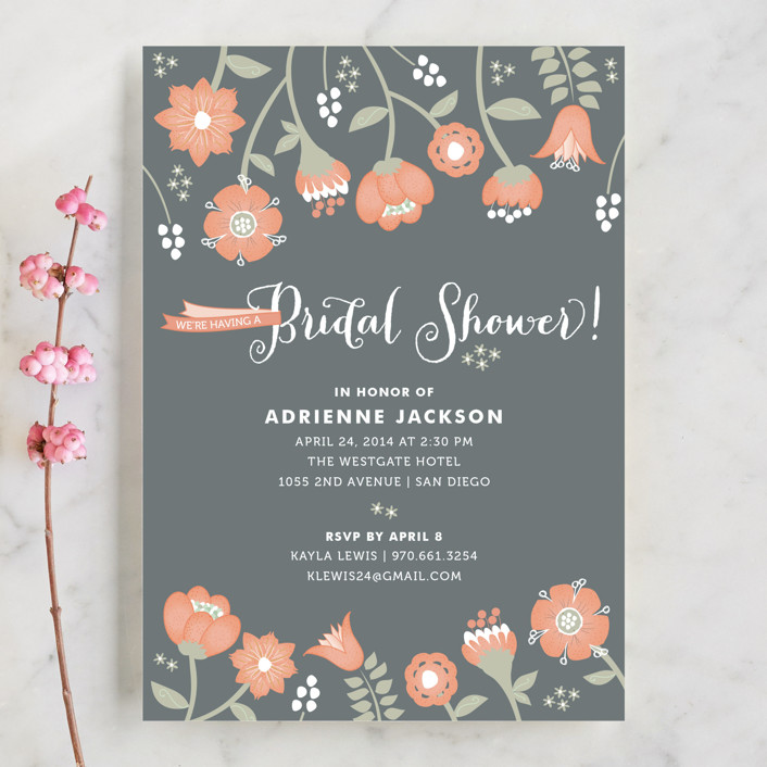"""""""Garden Whimsy"""" - Floral & Botanical, Whimsical & Funny Bridal Shower Invitations in Soft Coral by Wendy Van Ryn."""