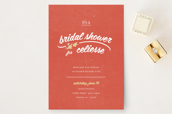 """Flower Toss"" - Hand Drawn, Floral & Botanical Bridal Shower Invitations in Red by Tyler Tea."