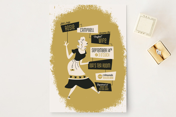 """""""Susie Homemaker"""" - Vintage Bridal Shower Invitations in Gold by Pistols."""