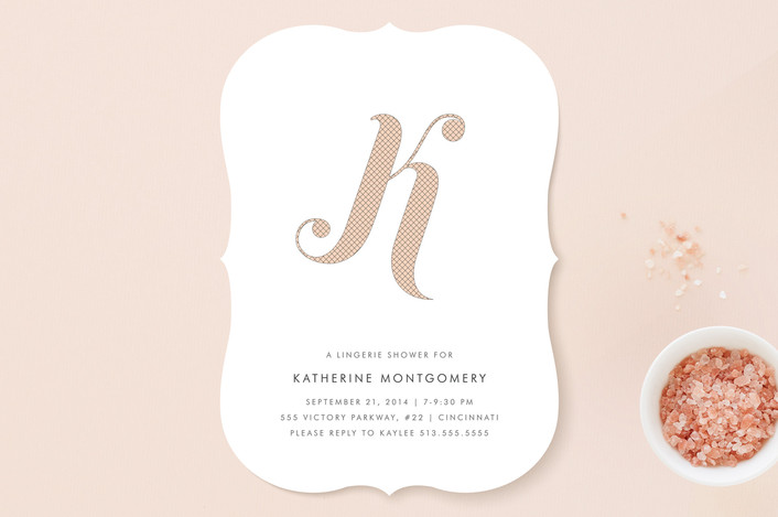 """Risque Initial"" - Monogrammed, Modern Bridal Shower Invitations in Blush by Kim Dietrich Elam."