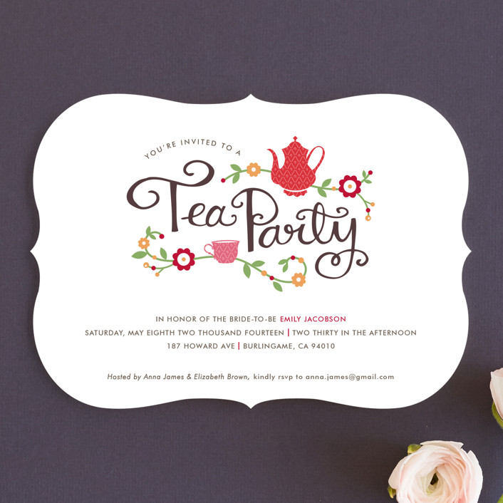 """Tea Party"" - Floral & Botanical, Whimsical & Funny Bridal Shower Invitations in Scarlet by Kristen Smith."
