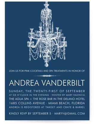 Blue Chandelier Bridal Shower Invitations