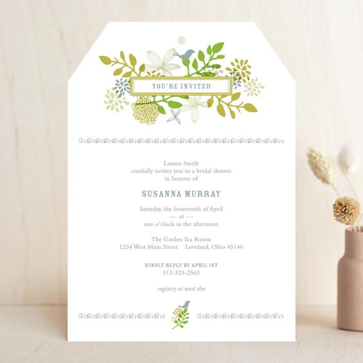"""""""Fling"""" - Floral & Botanical Bridal Shower Invitations in Leaf by Andrea Mentzer."""