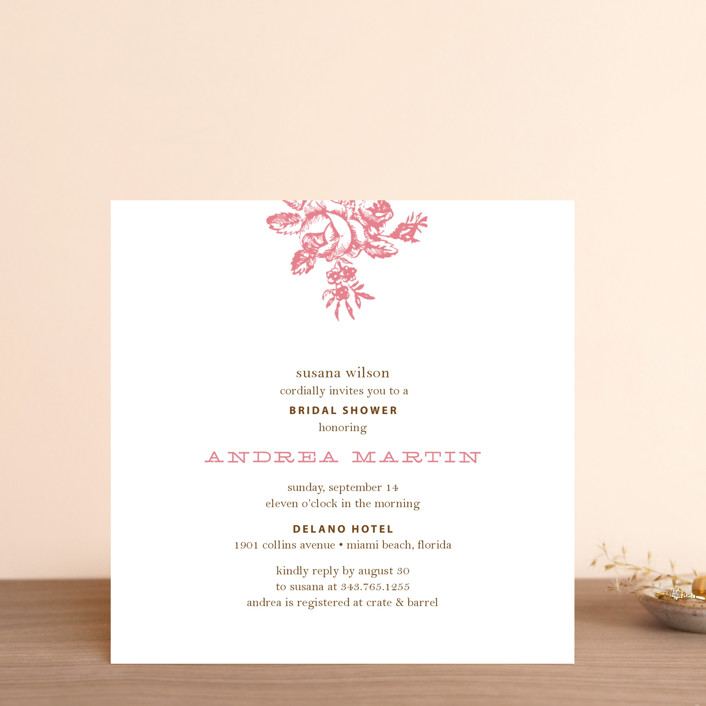 """Haute Affair"" - Floral & Botanical, Formal Bridal Shower Invitations in Watermelon by Oscar & Emma."