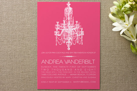 Pink Chandelier Bridal Shower Invitations