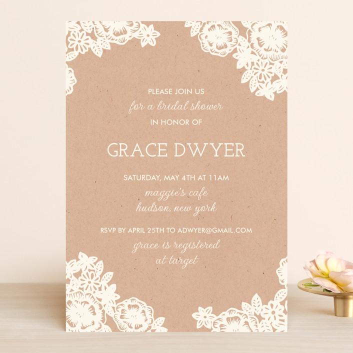 """Lace and Kraft"" - Elegant, Formal Bridal Shower Invitations in Kraft by Katharine Watson."
