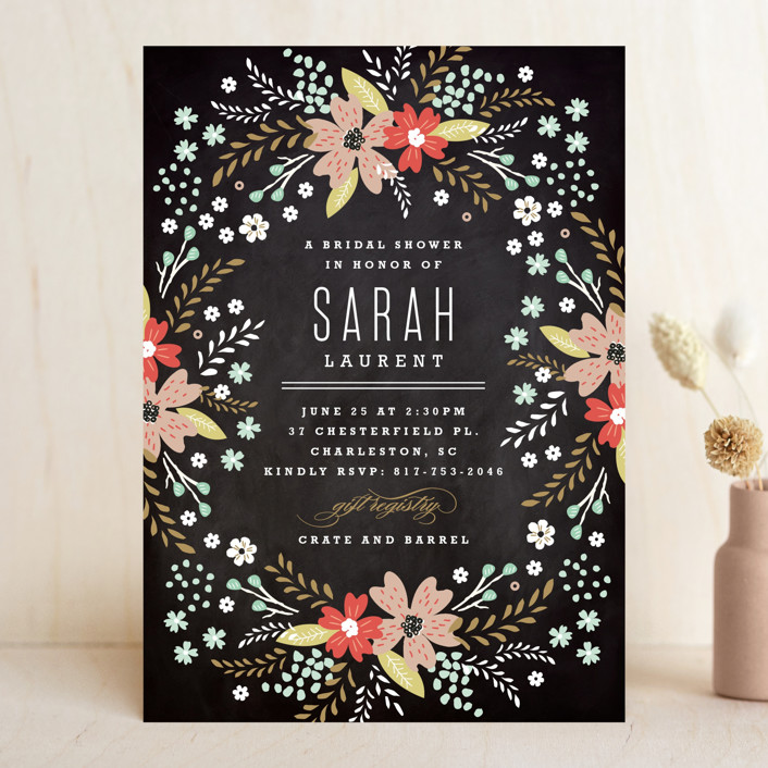 """""""Chalkboard Floral"""" - Floral & Botanical Bridal Shower Invitations in Peony by Kristie Kern."""