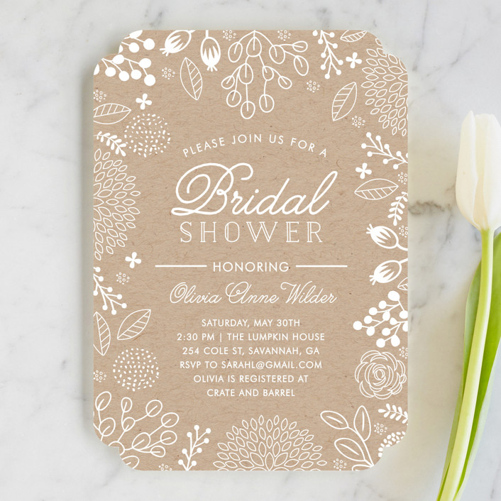 """White on Kraft"" - Floral & Botanical Bridal Shower Invitations in Kraft by Mikel Clair Hardin."
