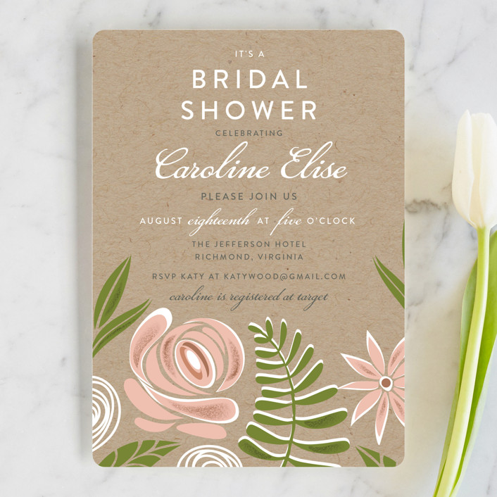 """Southern Krafted"" - Floral & Botanical Bridal Shower Invitations in Peony by That Girl Press."