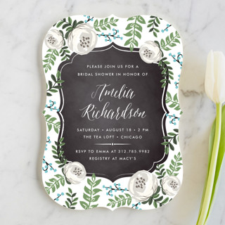 Chalkboard Florals Bridal Shower Invitations