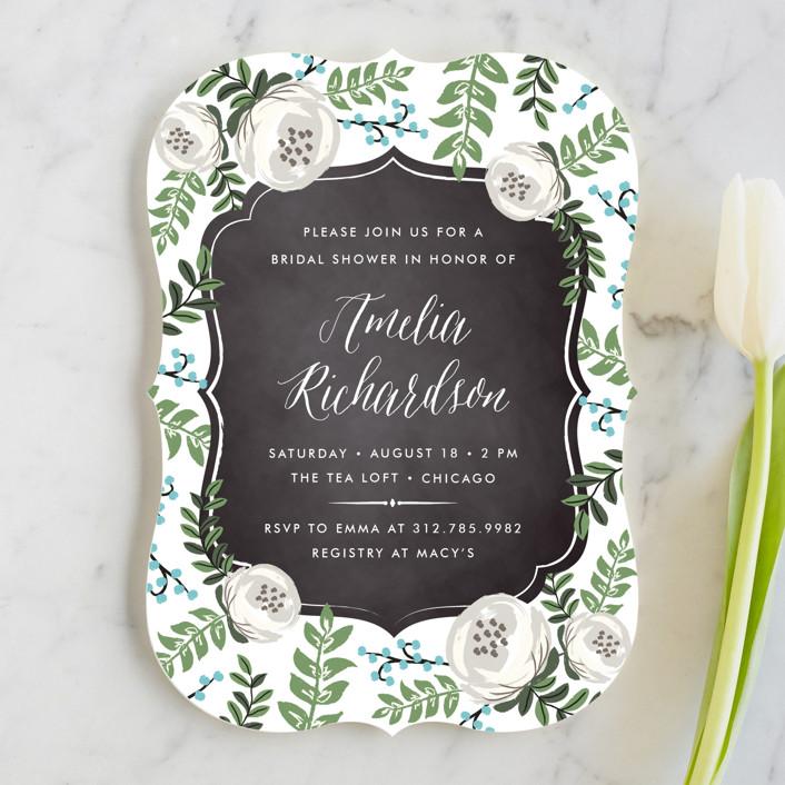 """""""Chalkboard Florals"""" - Elegant, Floral & Botanical Bridal Shower Invitations in Robins Egg by Lehan Veenker."""