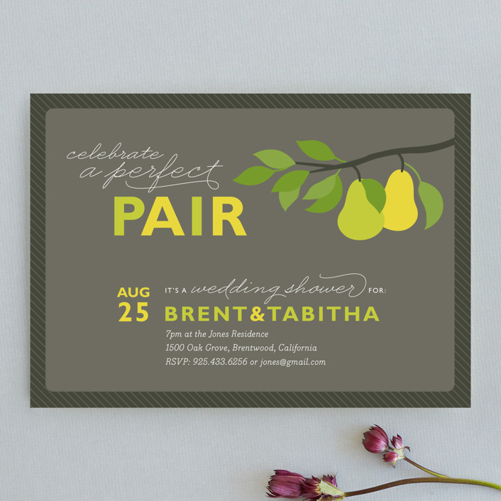 """""""Perfect Pair"""" - Bold typographic Bridal Shower Invitations in Walnut by Jill Means."""