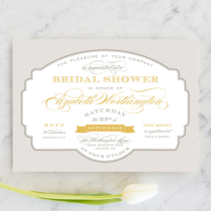 """""""Lovely Label"""" - Formal, Vintage Bridal Shower Invitations in Chamomile by Sarah Brown."""