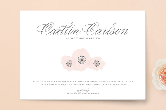 """Ethereal Bloom"" - Vintage, Formal Bridal Shower Invitations in Blush by Sarah Brown."