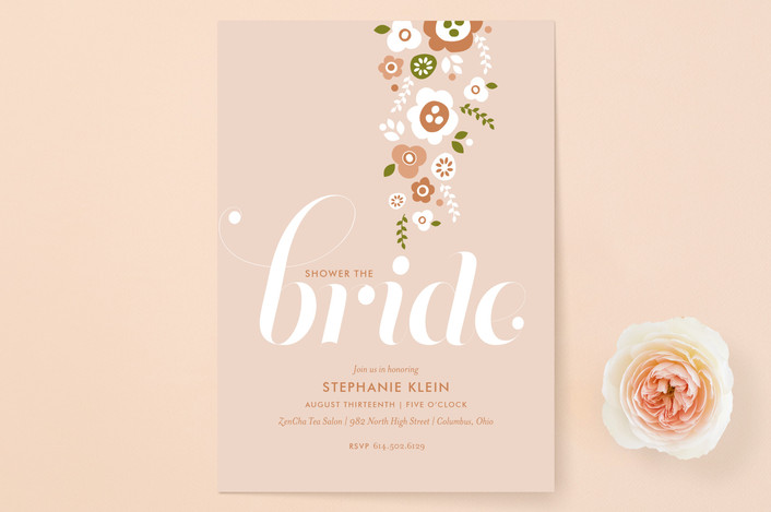 """""""Shower of Flowers"""" - Simple, Modern Bridal Shower Invitations in Blush by Cheer Up Press."""