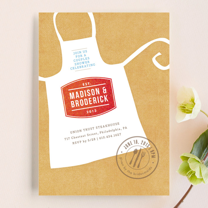 """Calling All Chefs"" - Whimsical & Funny Bridal Shower Invitations in Crimson by Jennifer Wick."