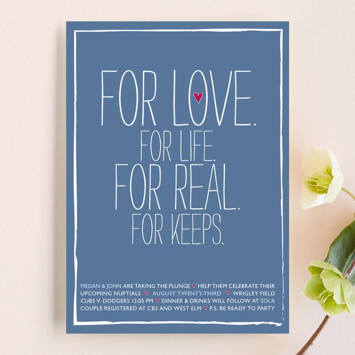 """For Life For Love"" - Modern Bridal Shower Invitations in Cornflower by Kayla Grunder."