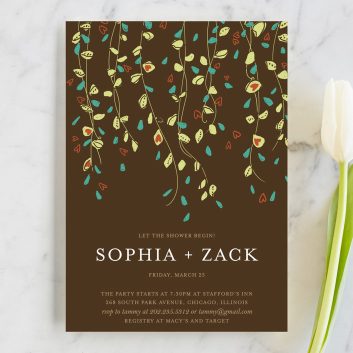 """""""Rain Catcher"""" - Bridal Shower Invitations in Bark by Larkspur Paperie."""