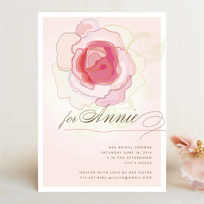 """Rose Blush"" - Formal Bridal Shower Invitations in Carnation Pink by karen boehm custom."