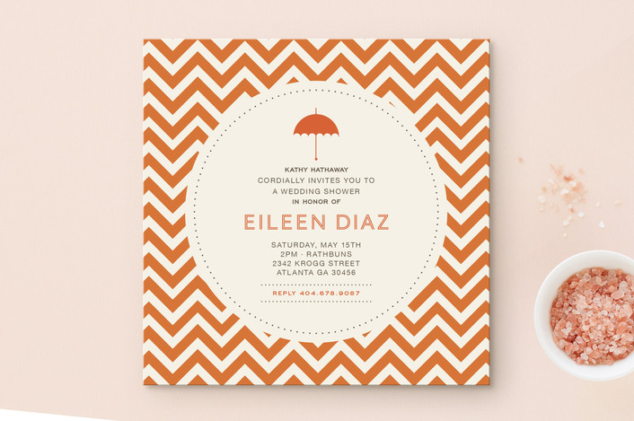 """Art Deco"" - Modern Bridal Shower Invitations in Tangerine by chica design."