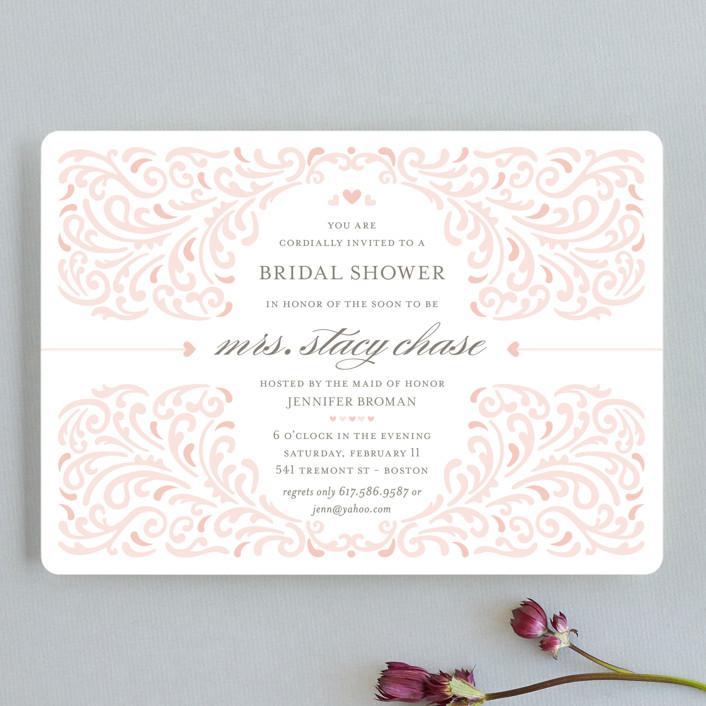"""Elegant Piping"" - Formal, Modern Bridal Shower Invitations in Guava by Mandy Rider."