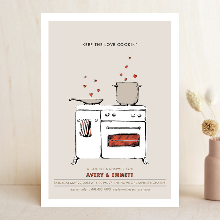 """""""Keep the Love Cookin'"""" - Whimsical & Funny Bridal Shower Invitations in Tomato by pottsdesign."""