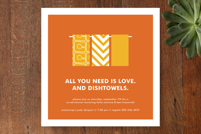 """""""Love and Dishtowels"""" - Modern Bridal Shower Invitations in Orange by Up Up Creative."""