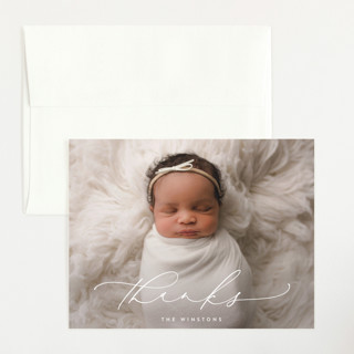 Poetry Flat Birth Announcements Thank You Cards