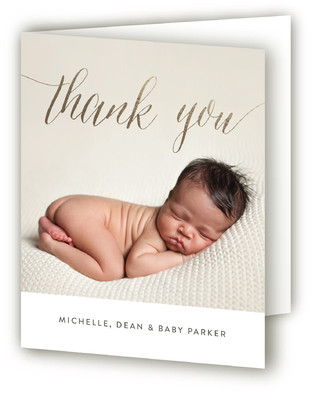 Chic Hello Foil-Pressed Birth Announcement Thank You Cards