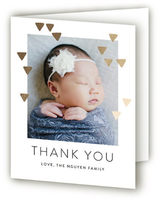 Modern Glow Foil-Pressed Birth Announcement Thank You Cards