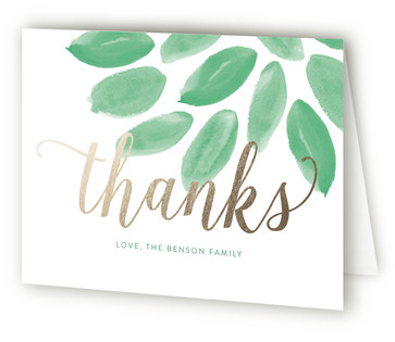 Welcoming Foliage Foil-Pressed Birth Announcement Thank You Cards