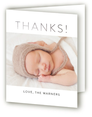 Simply Perfect Foil-Pressed Birth Announcement Thank You Cards
