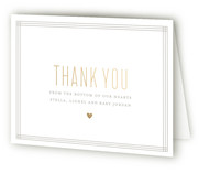 Golden Heart Foil-Pressed Birth Announcement Thank You Cards