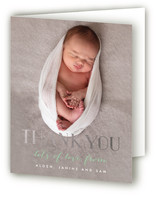Gold Welcome Foil-Pressed Birth Announcement Thank You Cards