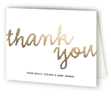 A Simple Hello Foil-Pressed Birth Announcement Thank You Cards